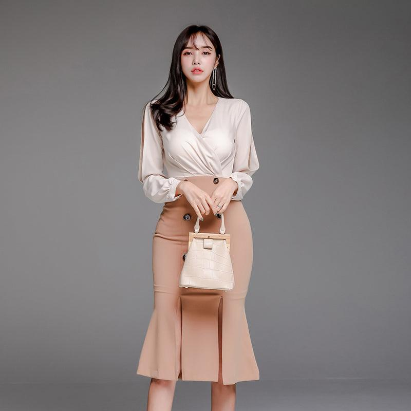 Autumn V-Neck Hole Sleeve High Waist Length Dress