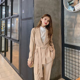 Autumn Winter Lace Up Pant Suit Notched Blazer Jacket & Pant Office Wear Creationsg