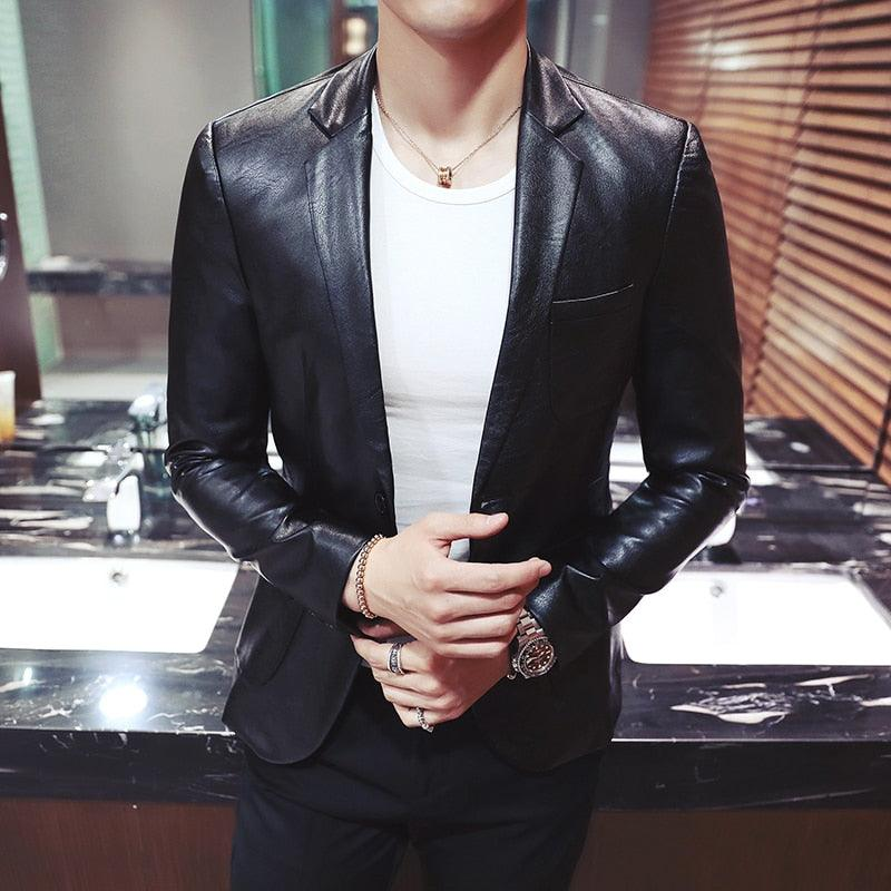 Autumn and Winter Men Suit Jacket Slim Design Youth PU Coats Creationsg