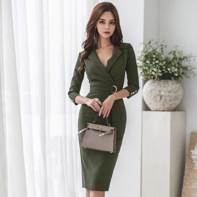 Army Green V-neck Sashes Bodycon Female Pencil Dress OL Style Creationsg