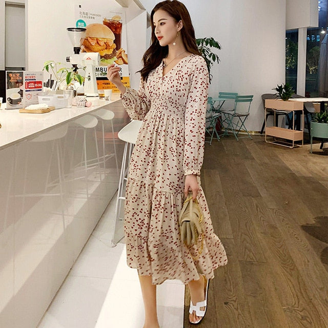 Elegant V-neck Print Chiffon Dress Dress 2019 Autumn Creationsg