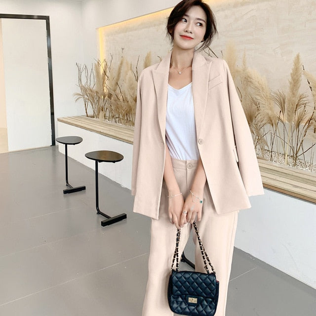 Women Pant Suits Single-button Blazer Jacket & Ankle-length Pant Workwear Creationsg
