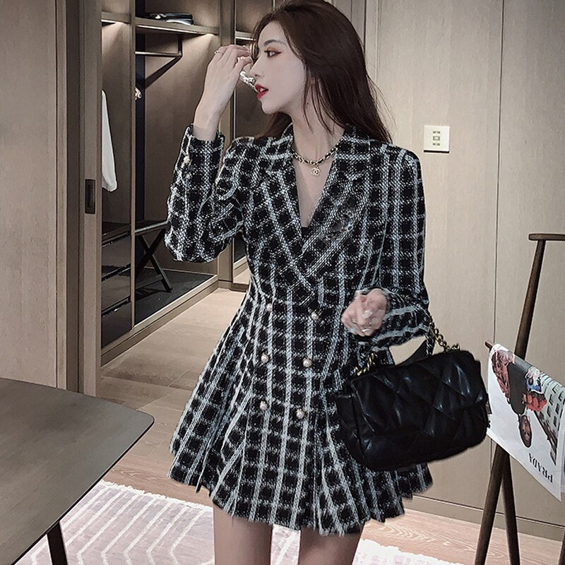 Long Sleeve Plaid Suit Dress French Sexy One-piece Lady Casual Office Clothes Creationsg