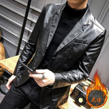 British Style Spring Autumn Mens Slim Fit Pu Leather Jacket Coat Creationsg