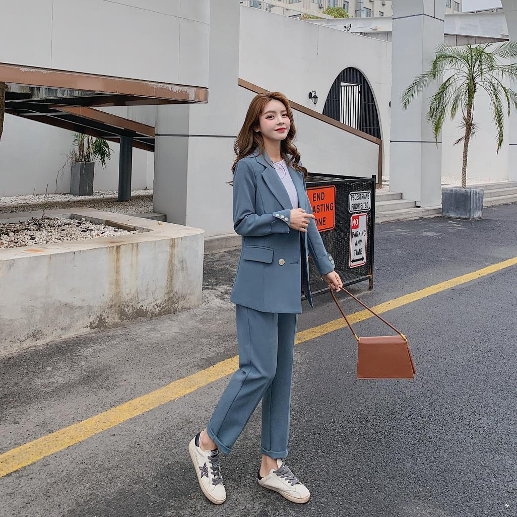 Casual Solid Women Pant Suits Notched Collar Blazer Jacket & Pencil Pant Creationsg