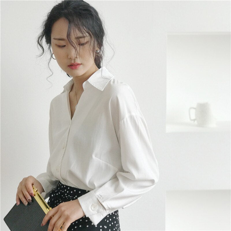 Casual V-neck Single-breasted Women White Blouse Shirts Female Creationsg