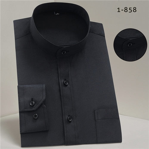 Chinease stand Collar solid plain regular fit long sleeve bussiness formal shirts Creationsg