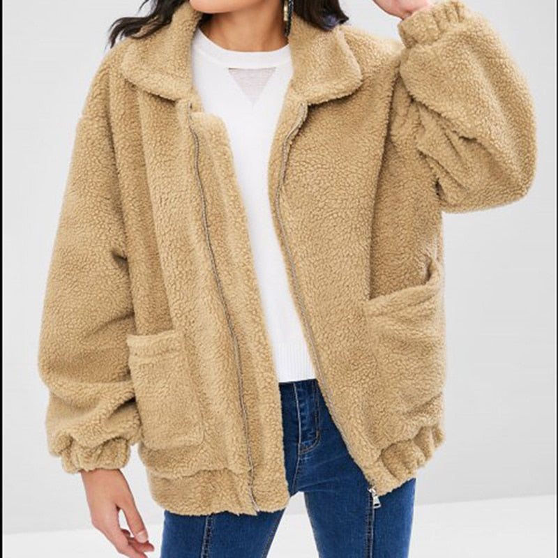 Elegant Faux Fur Coat Women 2020 Autumn Winter Warm Casual Teddy Outwear Creationsg
