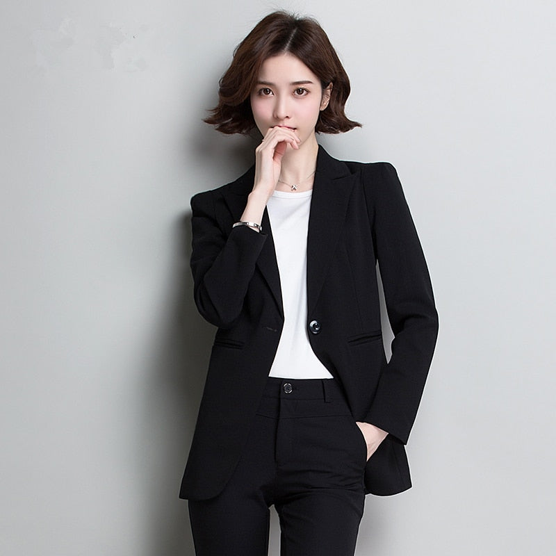 creationsg - Fashion Spring 2019 Women Black Slim Lady suit Office Business Ladies blazers