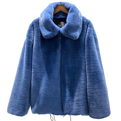 Faux Fur Coat Women Winter Turn-down Collar Short Coat Jacket Creationsg
