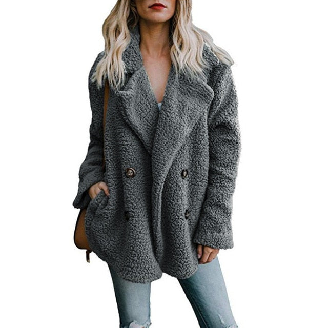 Faux lambswool oversized jacket coat Winter warm hairy jacket Women Winter outerwear Creationsg