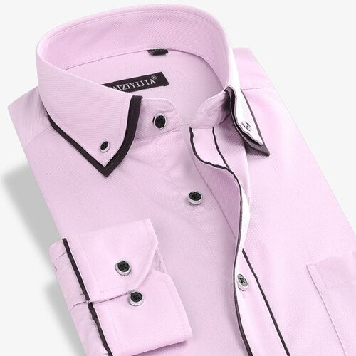 Formal Men's Long Sleeve Dress Shirt Fashion Double Smart Casual Shirt Creationsg