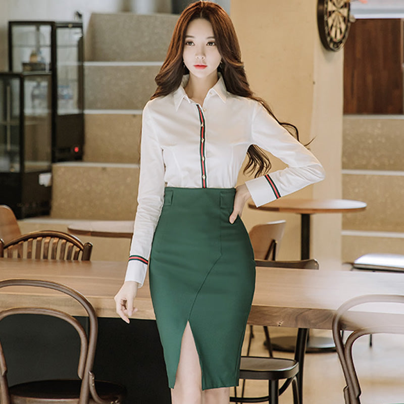 Full Sleeve Office Blouse Shirt Women Two Pieces Sets Slit Pencil Creationsg