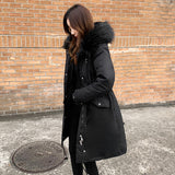 Winter Long Coat Women Plus Size Casual Hooded Fur Collar Jacket Womens Creationsg