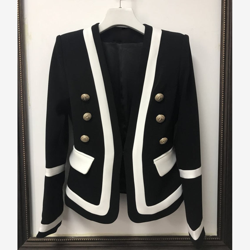 HIGH QUALITY New Fashion Designer Blazer Jacket Metal Buttons Blazer Creationsg