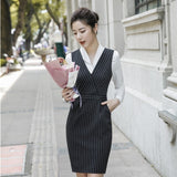 Formal Uniform Styles 2 Pieces Set With Dresses and Blouses Women Work Wear Creationsg