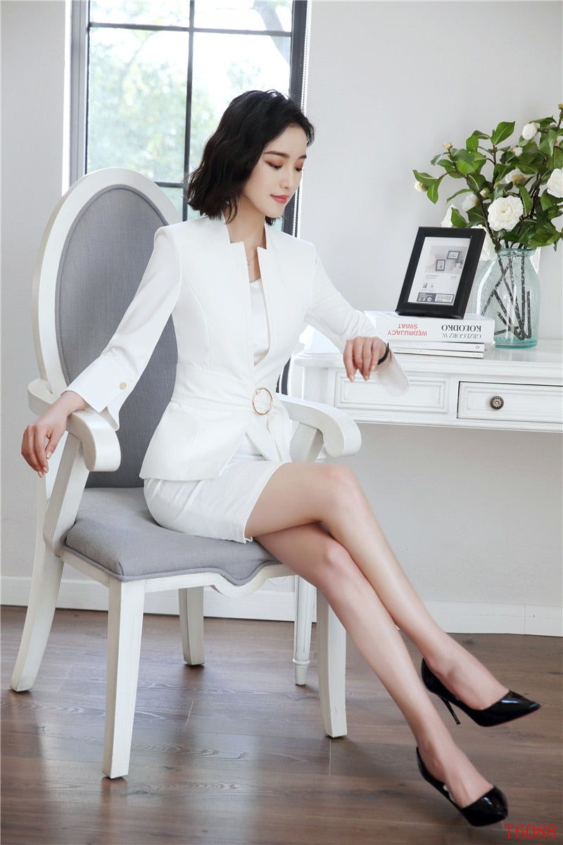 New Style Fashion Grey Blazer Women Business suits Dress Creationsg