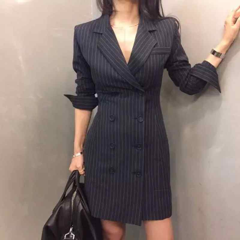 New Fashion Women Plaid Party Dress Elegant Dress Suit Long Sleeve Work Blazer Creationsg