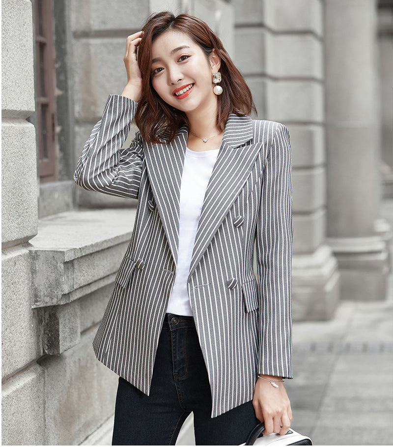 New Casual Striped Women Blazer Coat Jacket Office Suits Outwear Creationsg