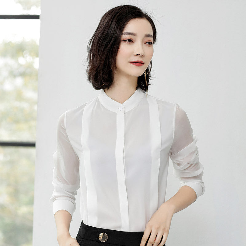 Chiffon Transparent Long Sleeve Simple Womens Blouses Tops Shirt Creationsg