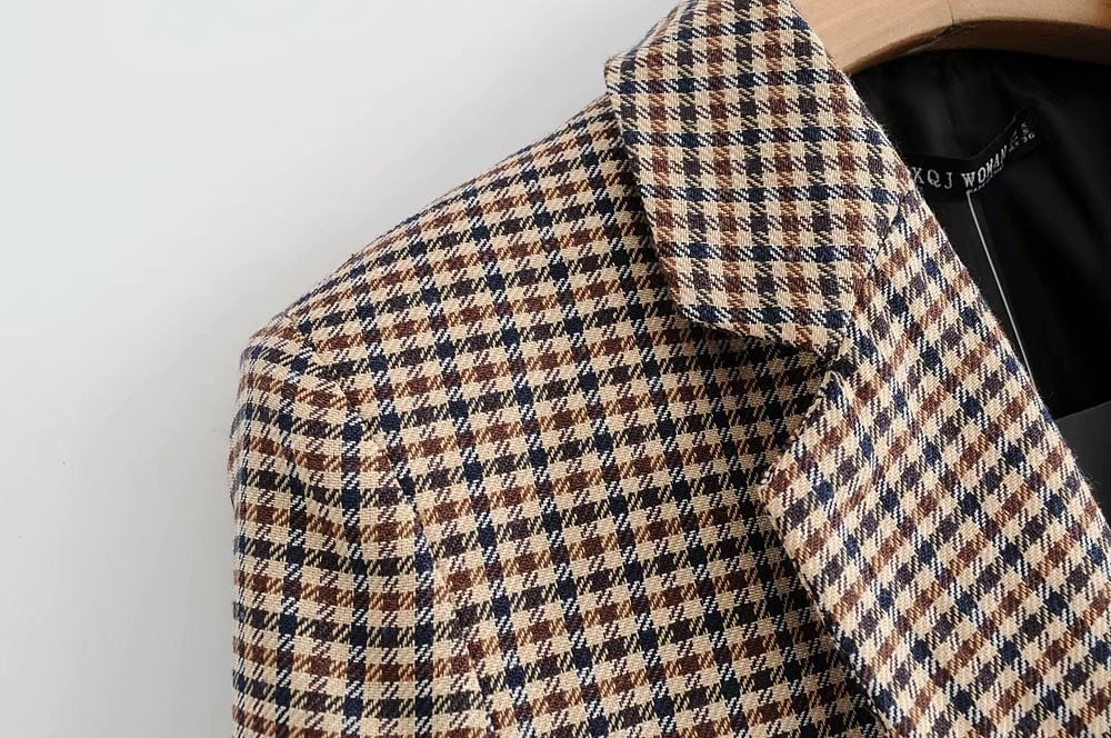 Vintage Bouble Breasted Plaid Women Blazer Spring Pockets Jackets Retro Suits Coat Work Outerwear Creationsg