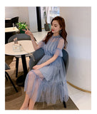 Elegant Lace Mesh Patchwork Women Dress Vintage Flare Sleeve Creationsg
