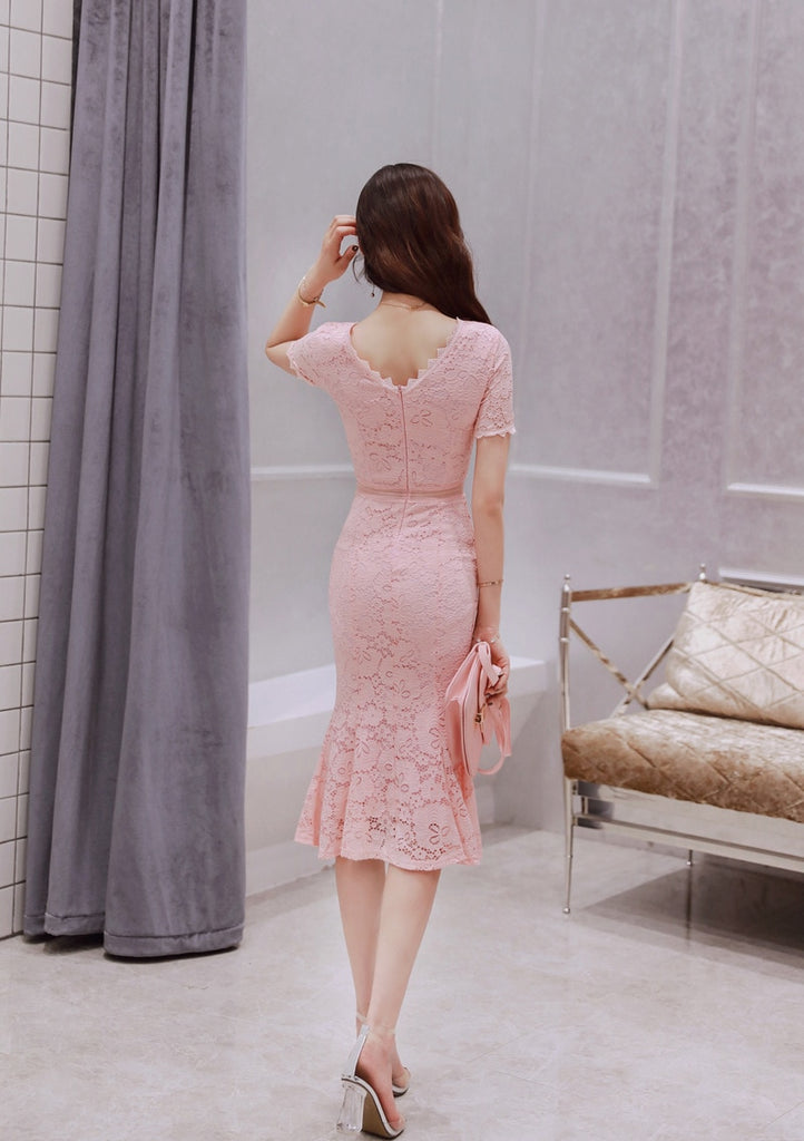 creationsg - 2018 Summer Black Pink Women Dress Short Sleeves O-Neck Lace Dresses