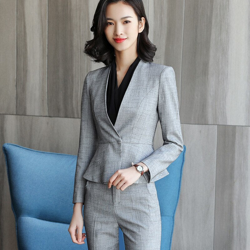New elegant skirt suits set women Business slim long sleeve blazer with skirt workwear - Creationsg