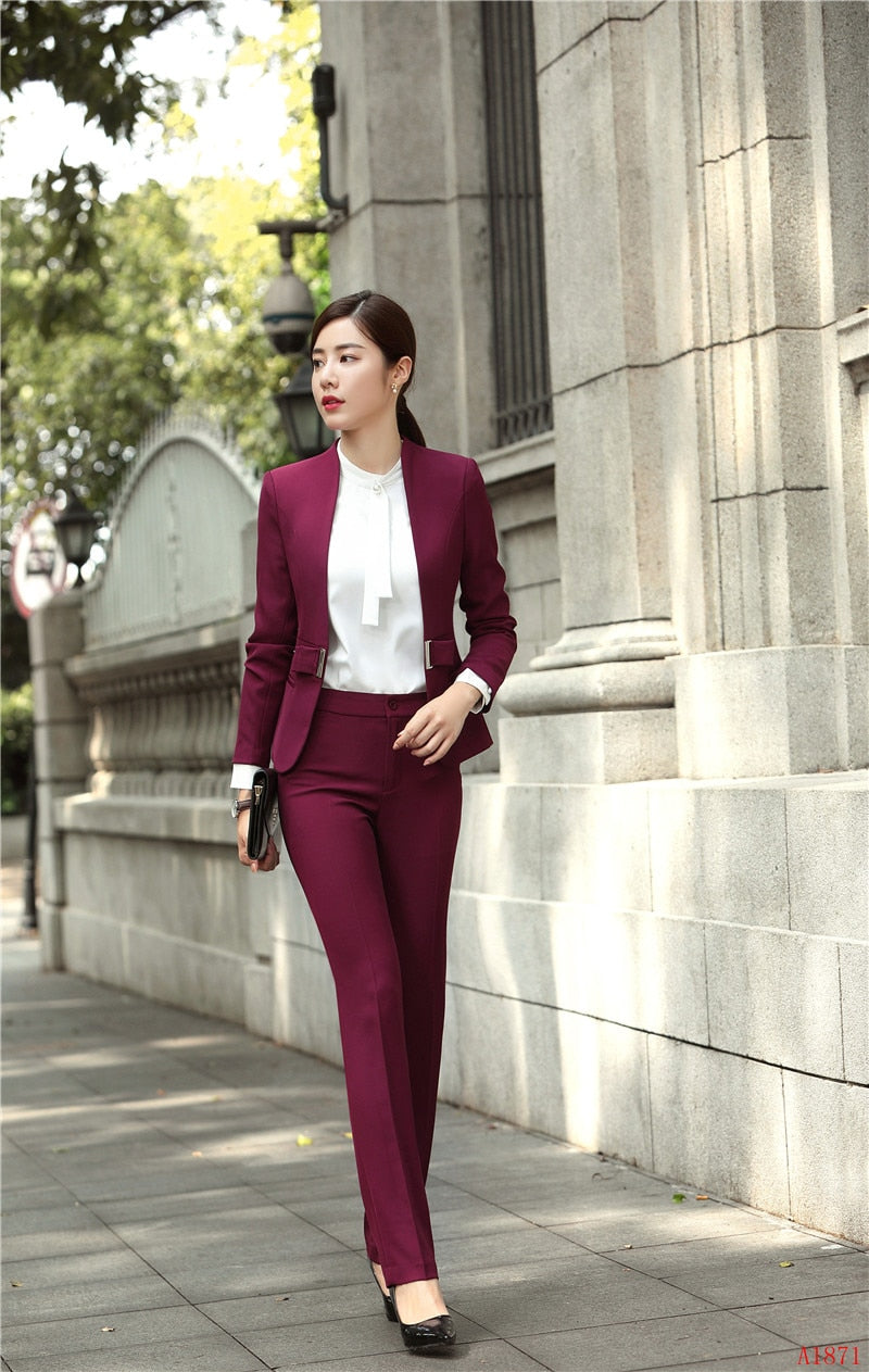 Fashion Wine Formal Uniforms Designs Professional Pantsuits Creationsg