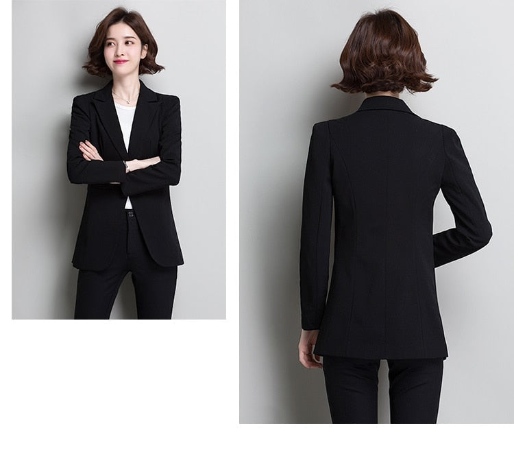 Fashion Spring 2019 Women Black Slim Lady suit Office Business Ladies blazers Creationsg