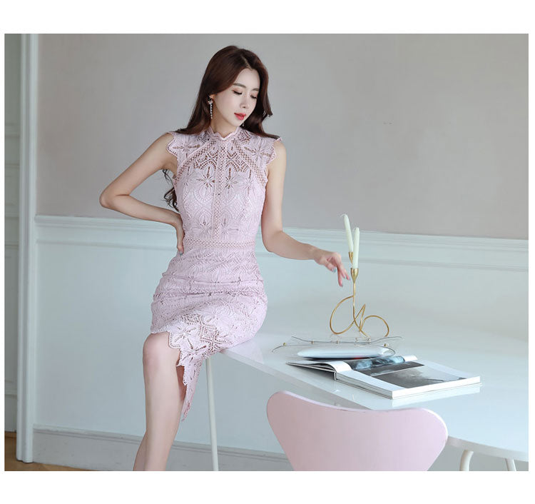Women Sexy Elegant Lace Hollow Out See Through Pencil Dress Creationsg