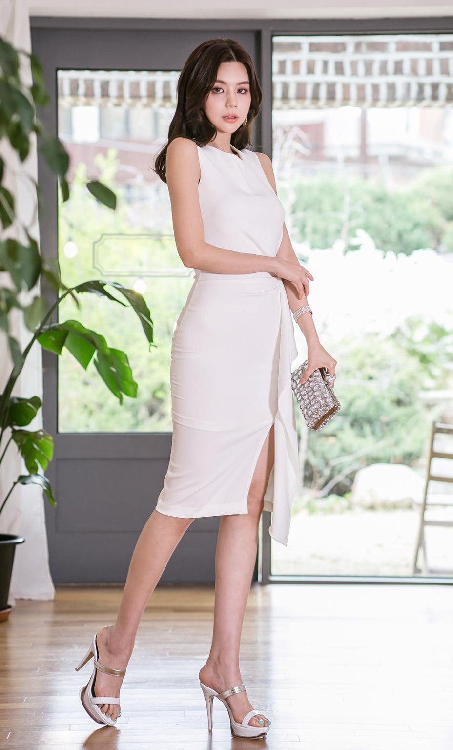 Women Sleeveless Solid Vest Knee-Length Vestidos Bodycon Sexy Ruffles Party Dress Creationsg