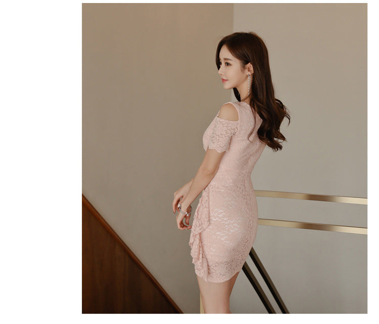 Plus SIze Women Solid Women Summer Dress Pink Lace Mini Dresses Creationsg