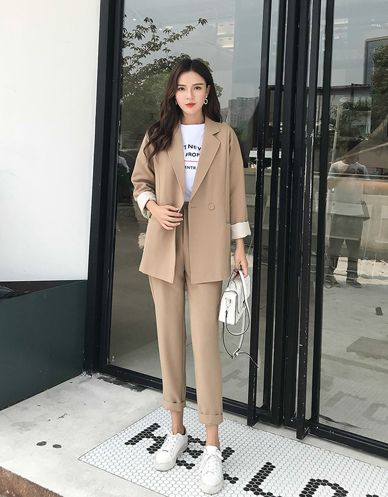 creationsg - Casual Solid Pant Suits Notched Collar Blazer Jacket & Pencil Pant Khaki Female Suit