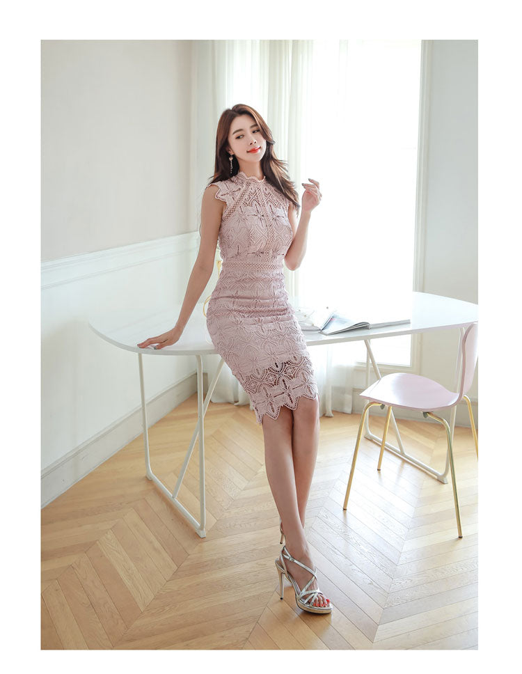 creationsg - H Han Queen Women Sexy Elegant Lace Hollow Out See Through Pencil Dress
