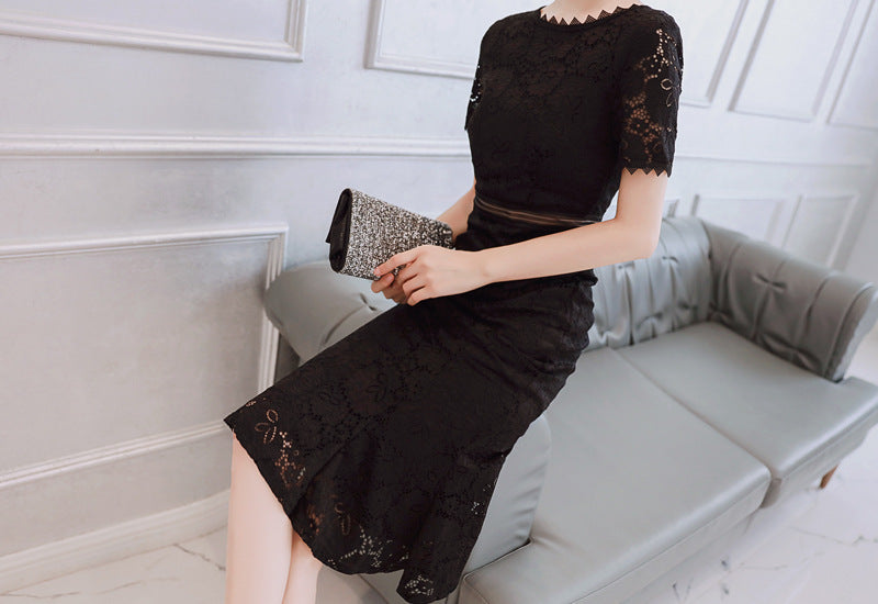 Summer Black Pink Women Dress Short Sleeves O-Neck Lace Dresses Creationsg