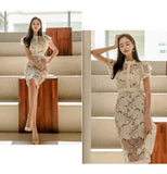 Ruffles Sleeve Corset Midi Ladies Dresses Print Floral Beige Lace Dress Creationsg