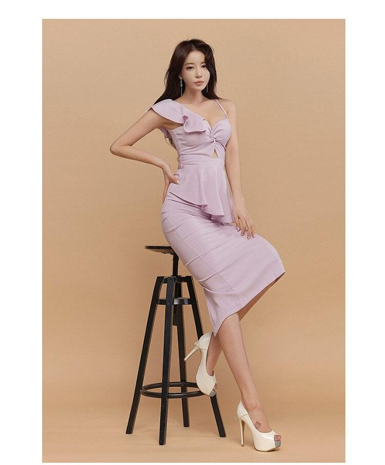 creationsg - 2019 Spaghetti Strap Ruffles Sleeve Bodycon Midi Dress