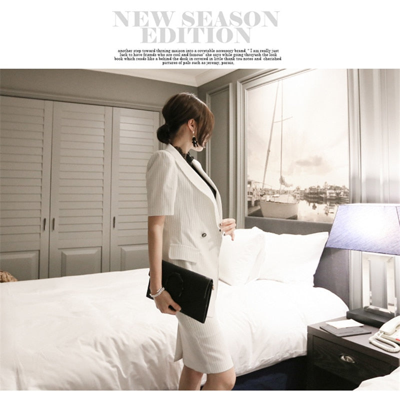 creationsg - Double Breasted Suit Jackets and Dress Set Office Lady Striped Blazers