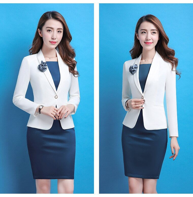 Formal Blaser Dress Set for Women Jacket Oficina Mujer Business White Blazer Dress Suit Creationsg