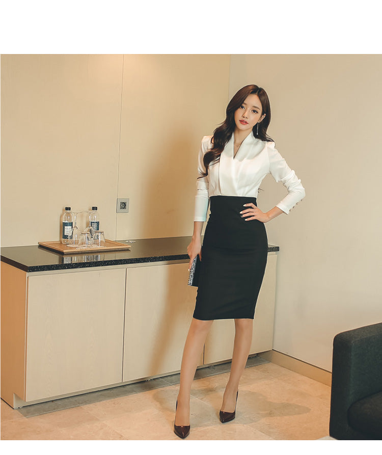 creationsg - H Han Queen Solid Patchwork Korean Sheath Pencil Autumn Dress