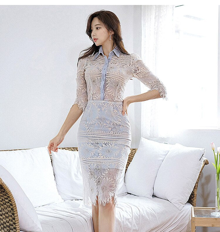 creationsg - Sheath Lace Blouse and Corset Lace Midi Bodycon Skirt 2 Pieces Set