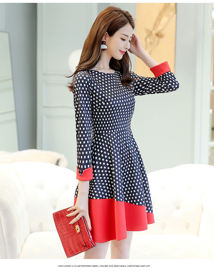 Spring Summer New Korean Version Point Round Collar Quarter Sleeves Dot Dress Creationsg