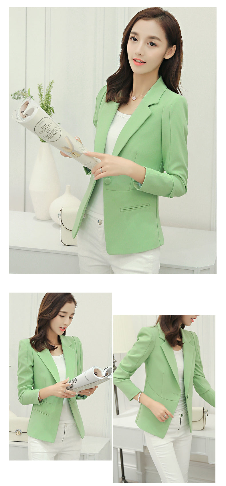 Women Blazers And Jackets 2019 Spring Autumn Single Button Blaser Creationsg