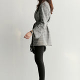 Spring Autumn Women Gray Plaid Office Lady Blazer Sleeve Jackets Creationsg
