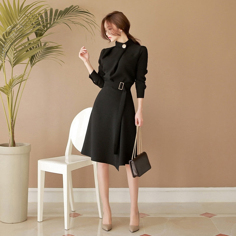 OL Elegant Stand Collar A-line Sexy Work Dresses Women Uniform Creationsg