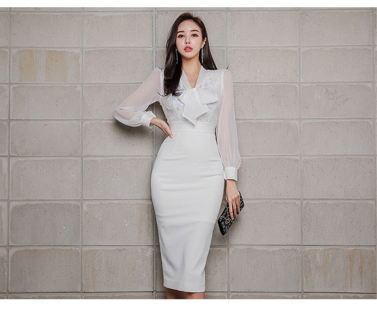 Plus Size Casual White Dress Summer 2019 Long Sleeve Mesh Patchwork Midi Bodycon Dress Creationsg