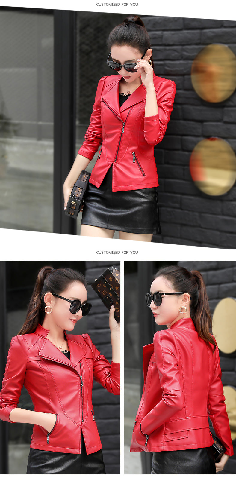 Spring and Autumn Ladies New Long-sleeved Leather Jacket Women Coat Creationsg