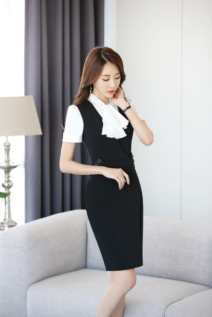 creationsg - Plus Size 3XL Summer Short Sleeve Formal Professional Business Women Work Suits With Blouses And Dress