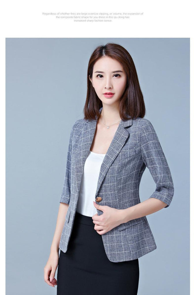 2019 New Korean Style Short Blazer Women Short Sleeves Slim Casual Plaid Suit Jacket Creationsg